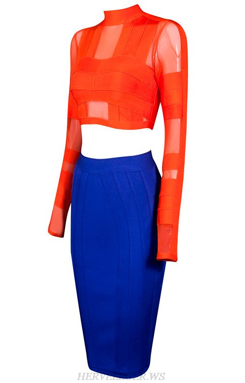 Herve Leger Orange And Blue Long Sleeve Two Pieces Dress