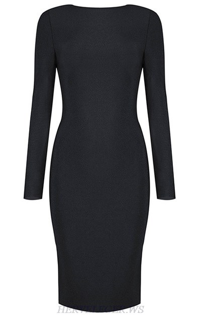 Herve Leger Black Long Sleeve Zipper Detail Dress