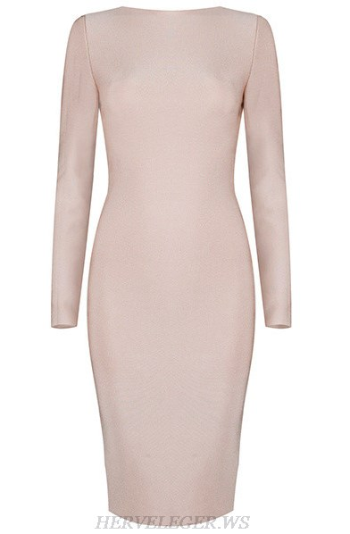 Herve Leger Nude Long Sleeve Zipper Detail Dress