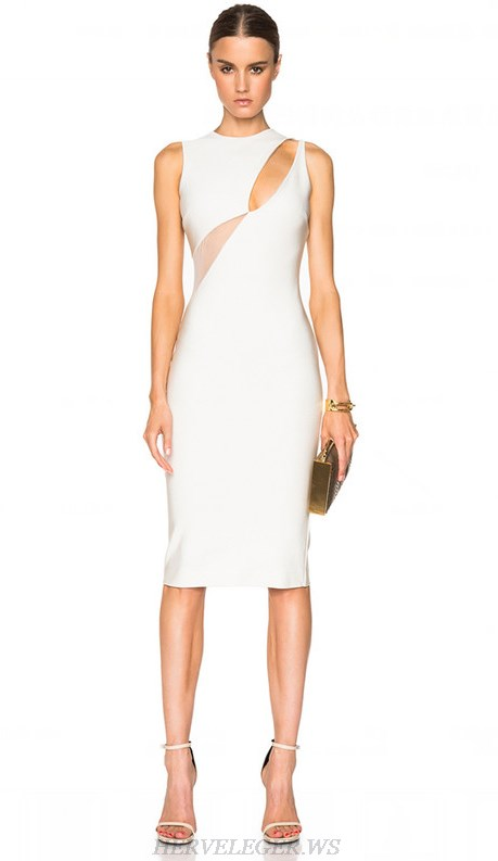 Herve Leger White Mesh Cut Out Dress
