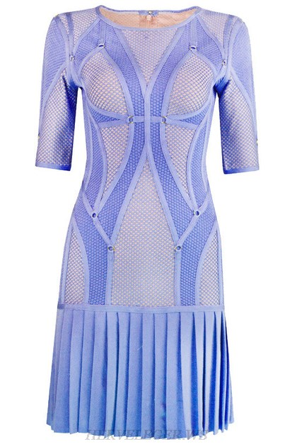 Herve Leger Blue Multi Stitch Crochet Pleated Dress