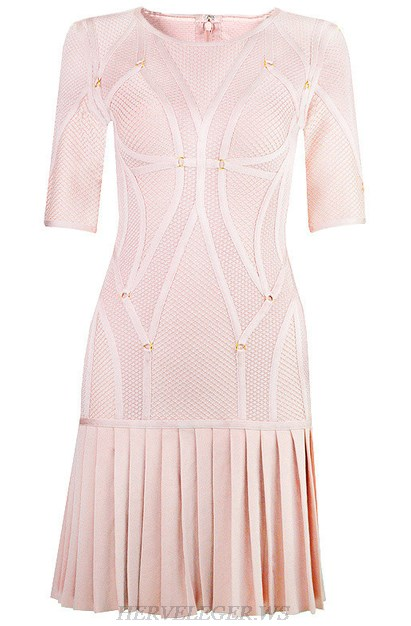 Herve Leger Nude Multi Stitch Crochet Pleated Dress
