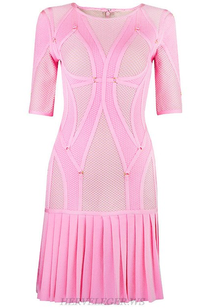 Herve Leger Pink Multi Stitch Crochet Pleated Dress