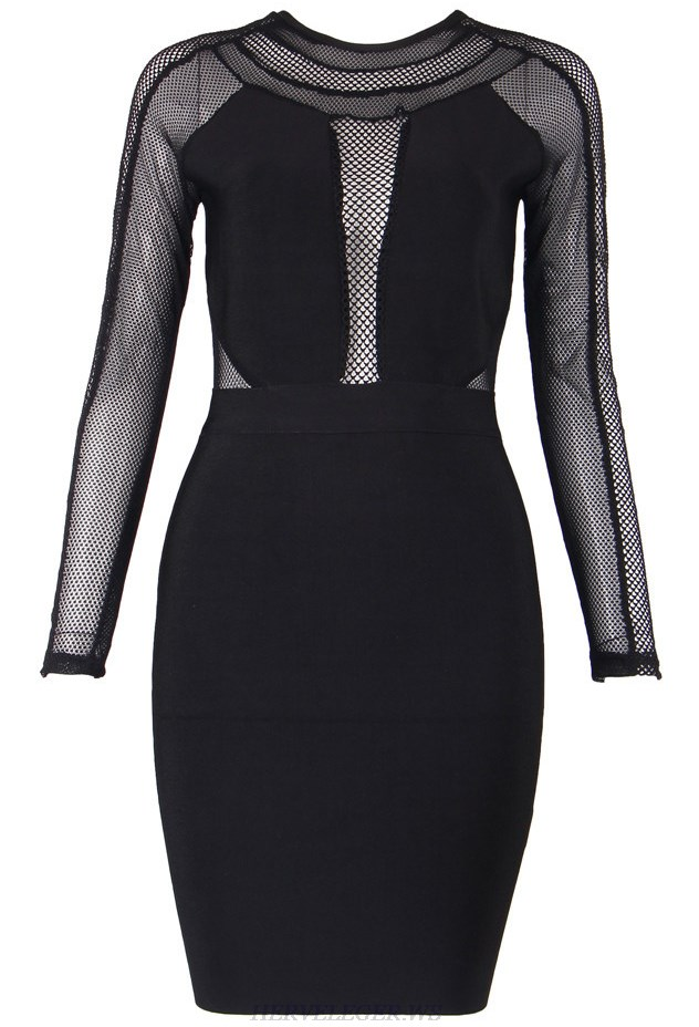 Herve Leger Black Multistitch Crochet Dress