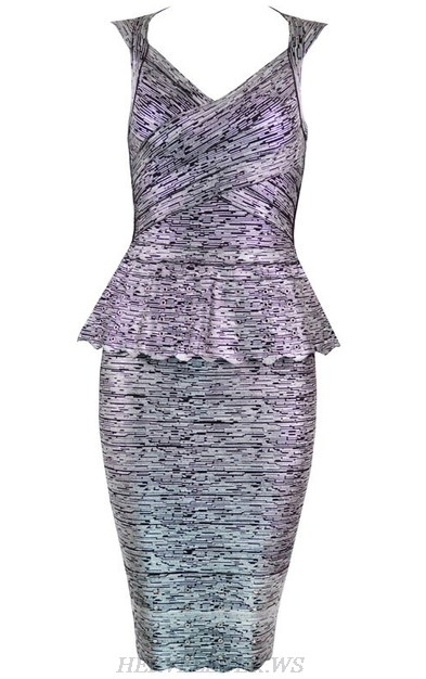 Herve Leger Antique Silver Peplum Woodgrain Foil Print Dress