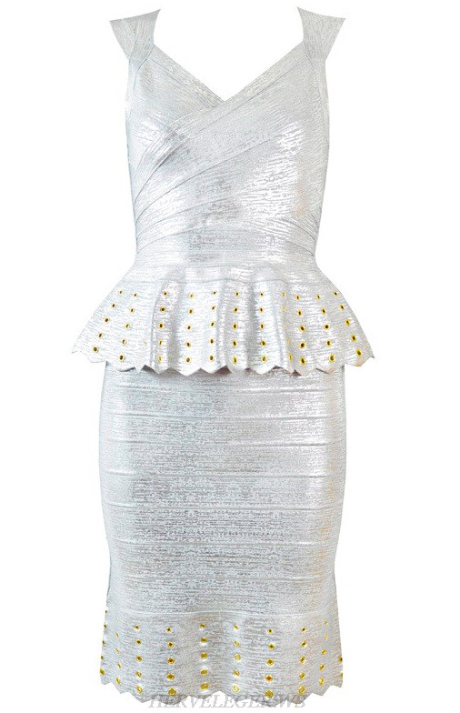 Herve Leger Silver Peplum Woodgrain Foil Print Dress