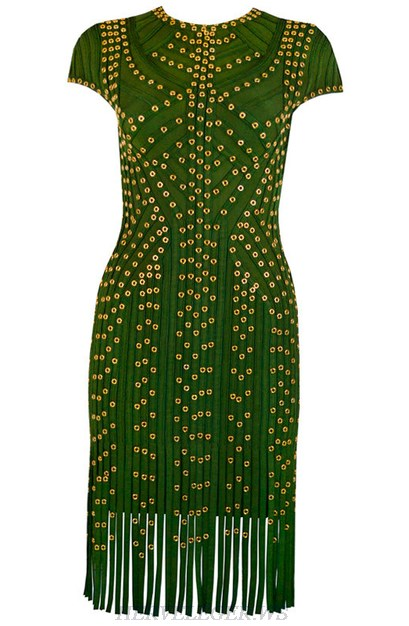 Herve Leger Green Studded Fringe Dress