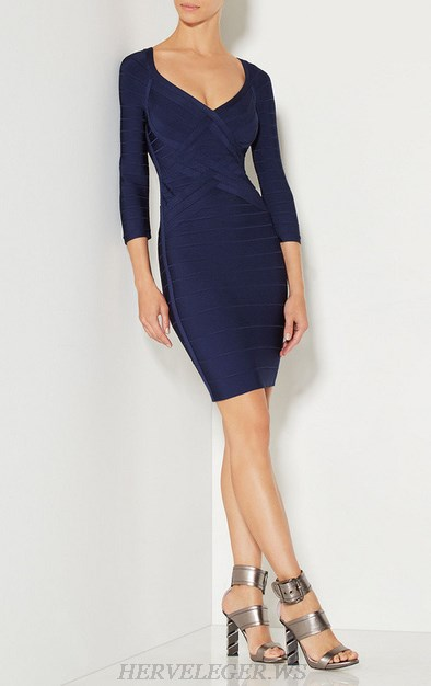 Herve Leger Blue V Neck Three Quarter Sleeve Dress