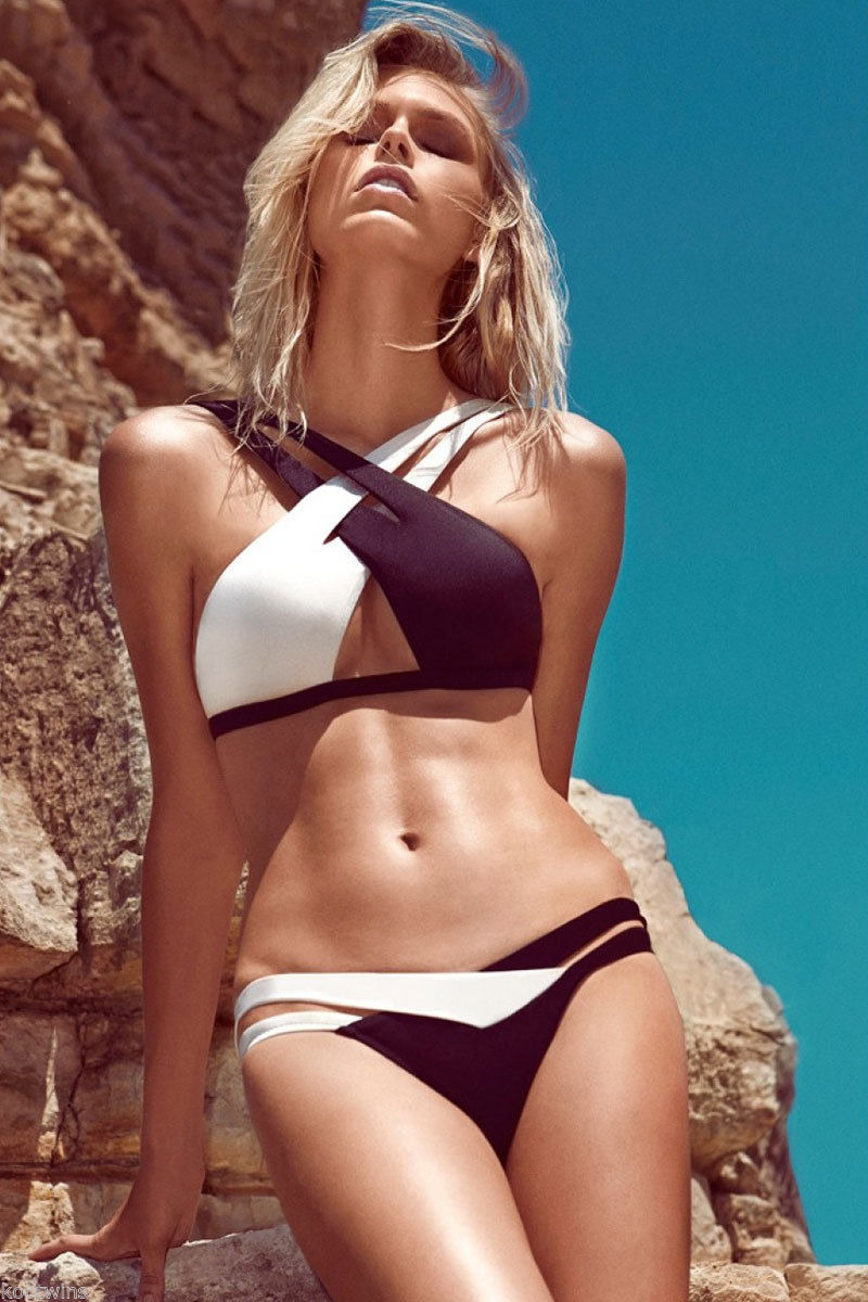 Fabienne Hagedorn Herve Leger Black And White Color Block Cut Out Bikini