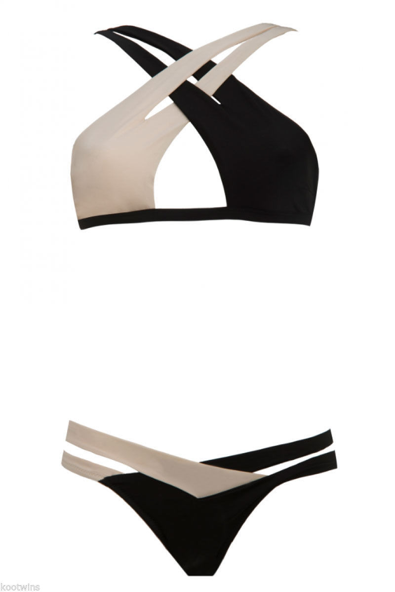 a33862134678f Fabienne Hagedorn Herve Leger Black And White Color Block Cut Out Bikini