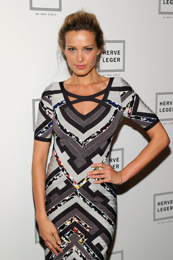 Herve Leger Black And Gray Color Block Cut Out Dress