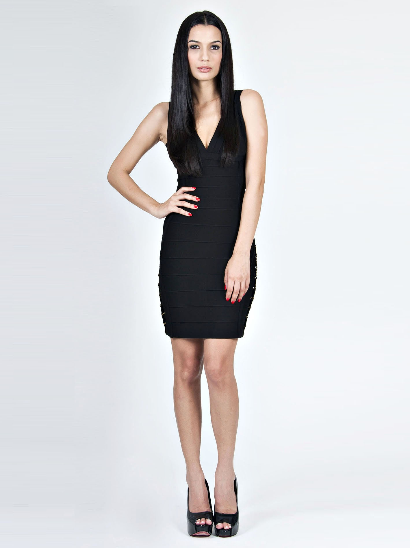 Herve Leger Black Deep V neck Dress