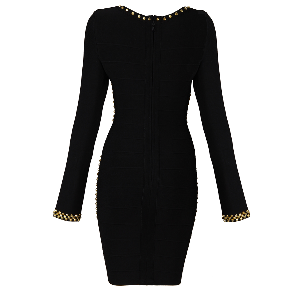Herve Leger Black Long Sleeve Beaded Dress