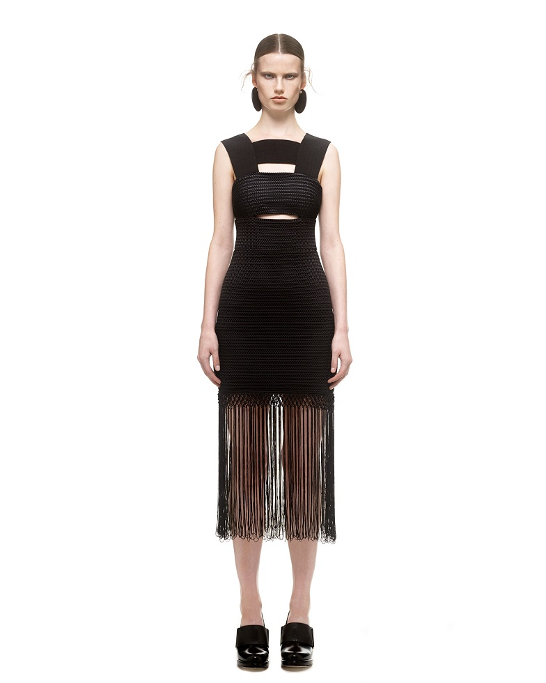 279d81ef1a201 ... Color Block Triangl Bikini · Herve Leger Black Cut Out Fringed Long  Dress