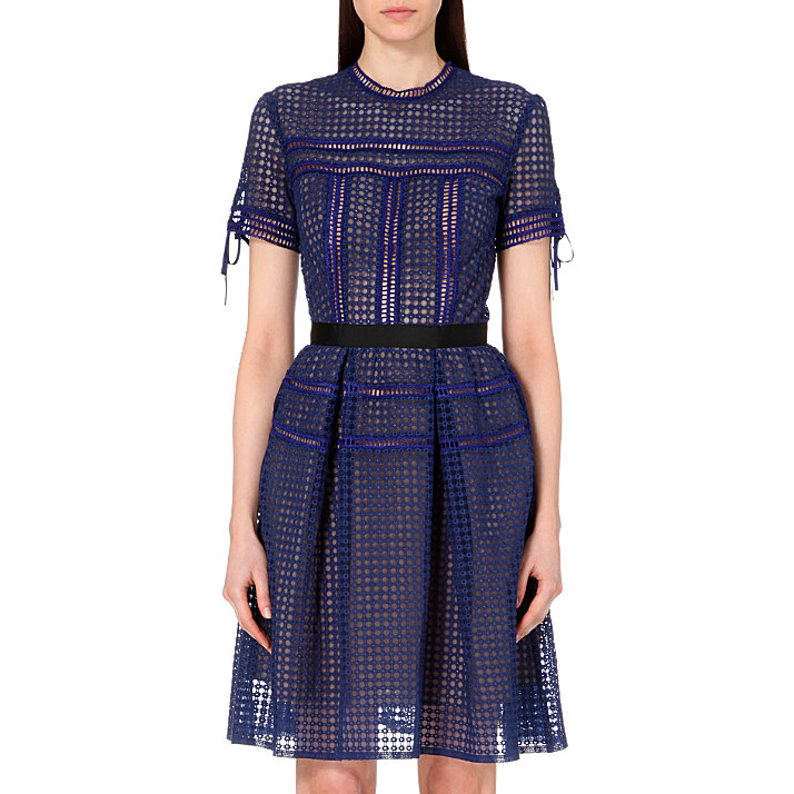 Herve Leger Blue Transparent Neck Mid Sleeve Dress