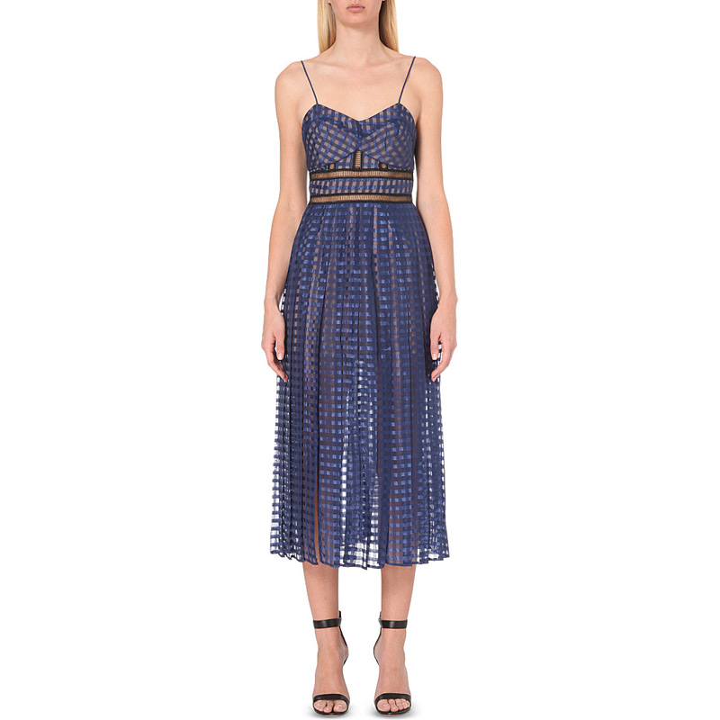 Herve Leger Blue Chiffon Spaghetti Strapless Dress