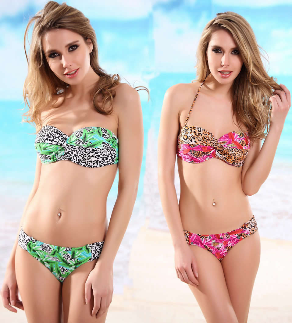 Herve Leger Green And Red Multi Color Leopard Print Two Piece Bikini