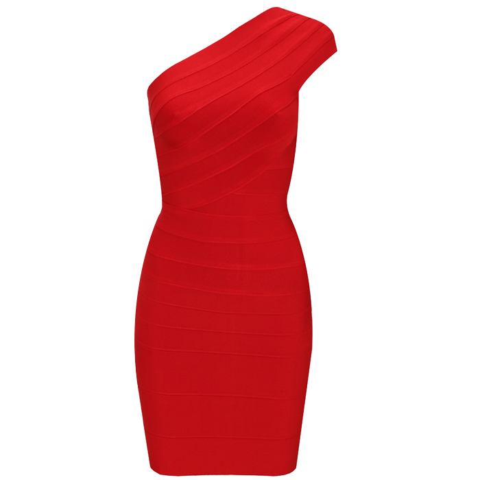 Herve Leger New Fashion Red One Shoulder Dress