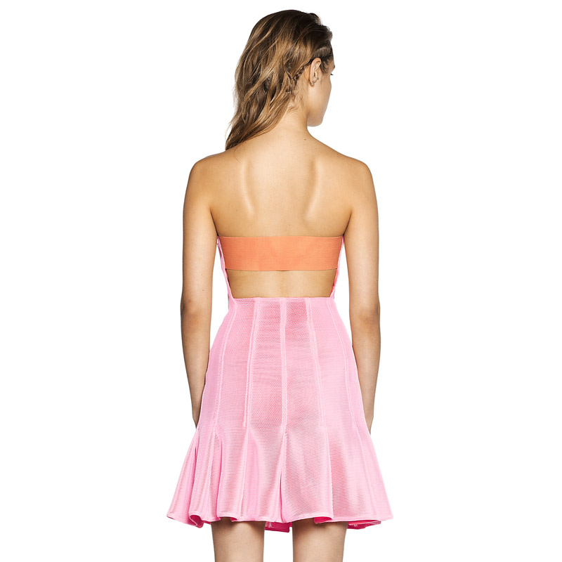 Herve Leger New Fashion Pink Strapless Dress