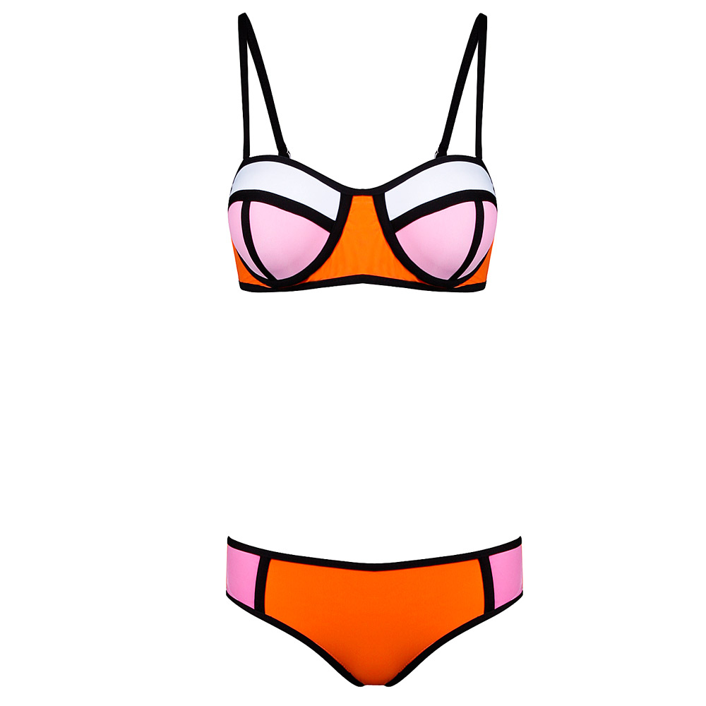 Herve Leger Pink Orange Blue Multicolor Color Block Triangl Bikini