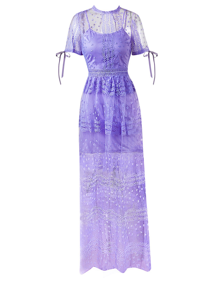 Herve Leger Purple Mid Sleeve Transparent Lace Gown