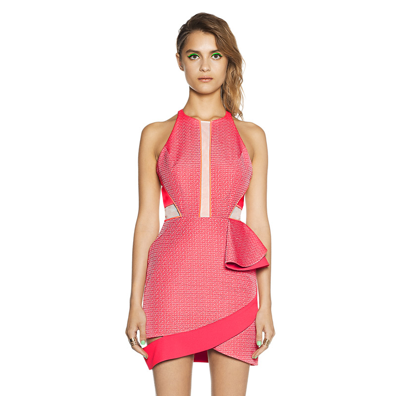 Herve Leger Red And White Colorblock Round Neck Dress