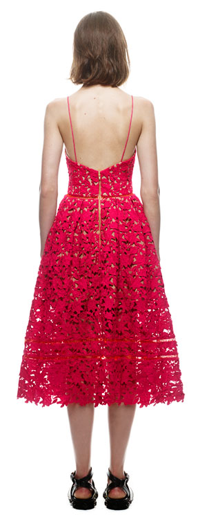 Herve Leger Red And White Multicolor Hollow Lace A Line Dress
