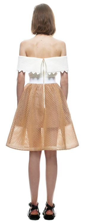 Herve Leger White And Brown Strapless A Line Dress