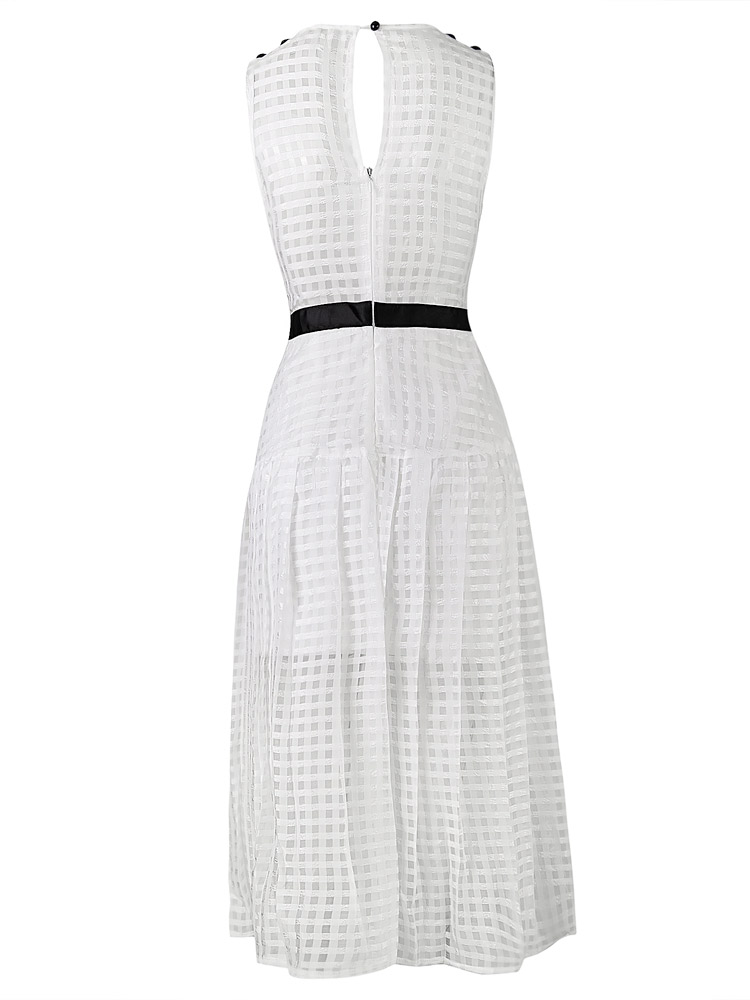 Herve Leger White Transparent Neck Multi Layer Chiffon Long Dress