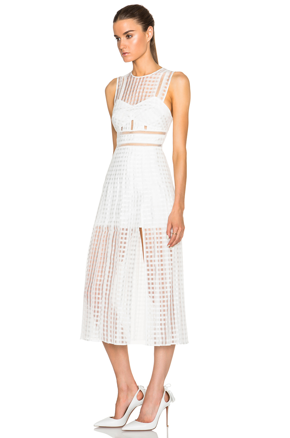 ac333216cc10d Herve Leger White Transparent Hollow Lined Long Dress
