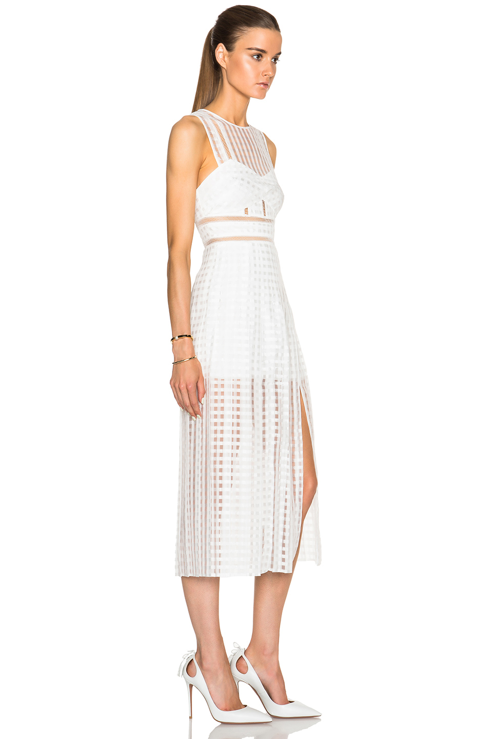 Herve Leger White Transparent Hollow Lined Long Dress