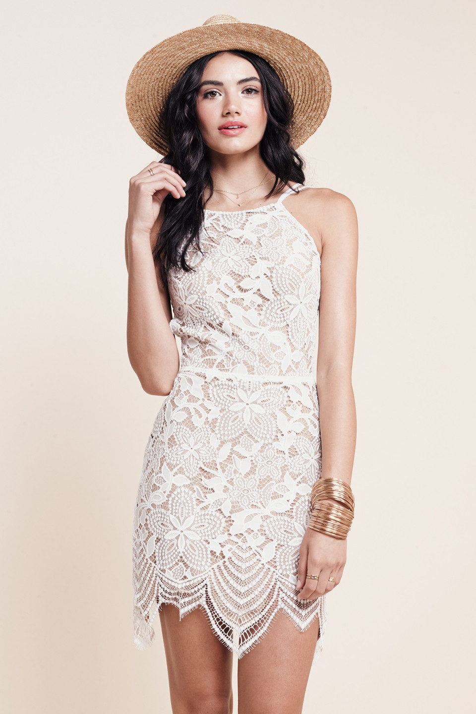 Herve Leger White Strapless Cut Out Hem Lace Dress