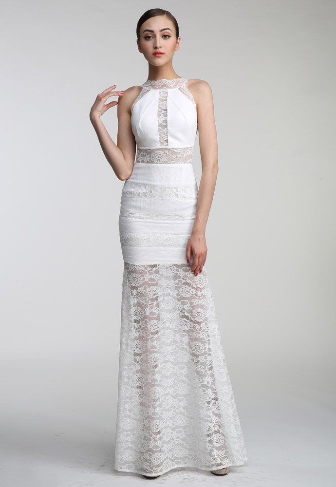 Herve Leger White Sleeveless Cut Out Gown