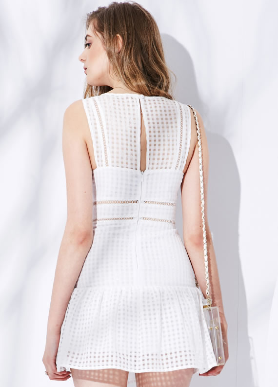 Herve Leger White Transparent Neck Sleeveless A Line Dress