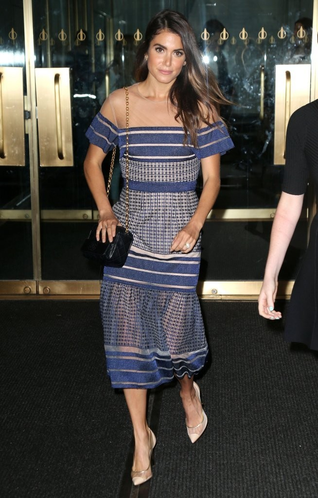 Nikki Reed Dress Herve Leger Blue Transparent Long Dress