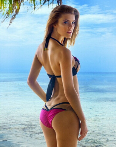 Nina Agdal Bikini Herve Leger Rose Red Stitching Swimsuit