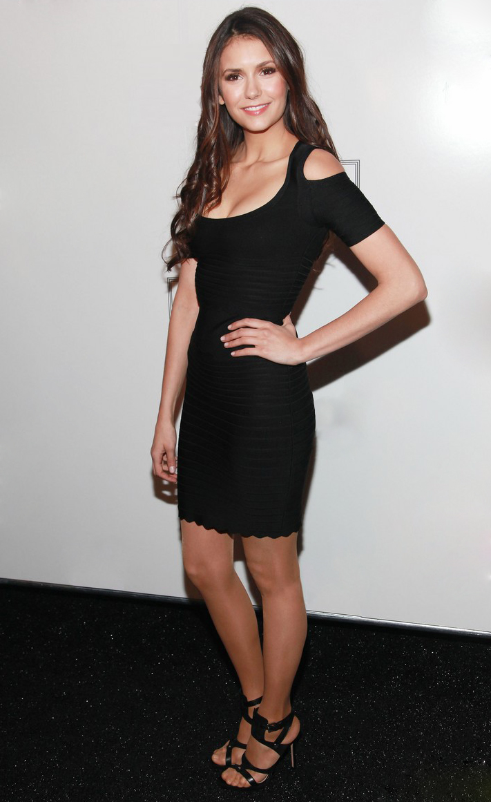 78a9005fa0653 Nina Dobrev Dress Herve Leger Black Strapless Dress