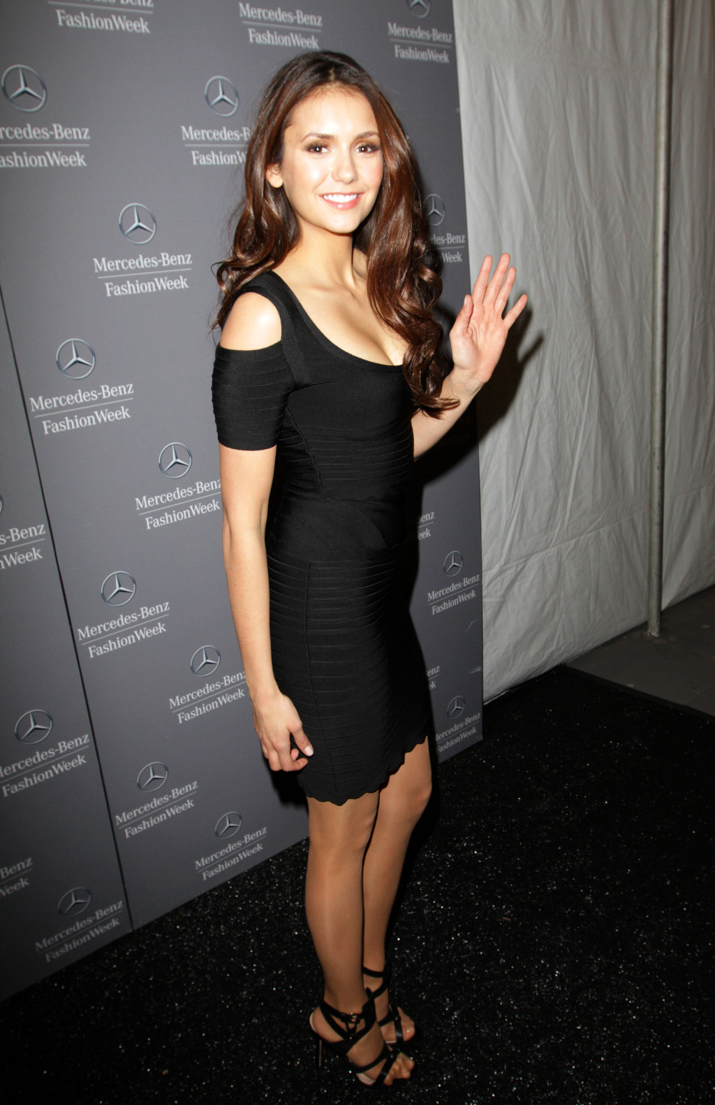 Nina Dobrev Dress Herve Leger Black Strapless Dress