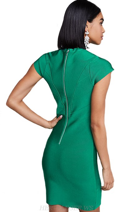 Herve Leger Green Cap Sleeve Dress