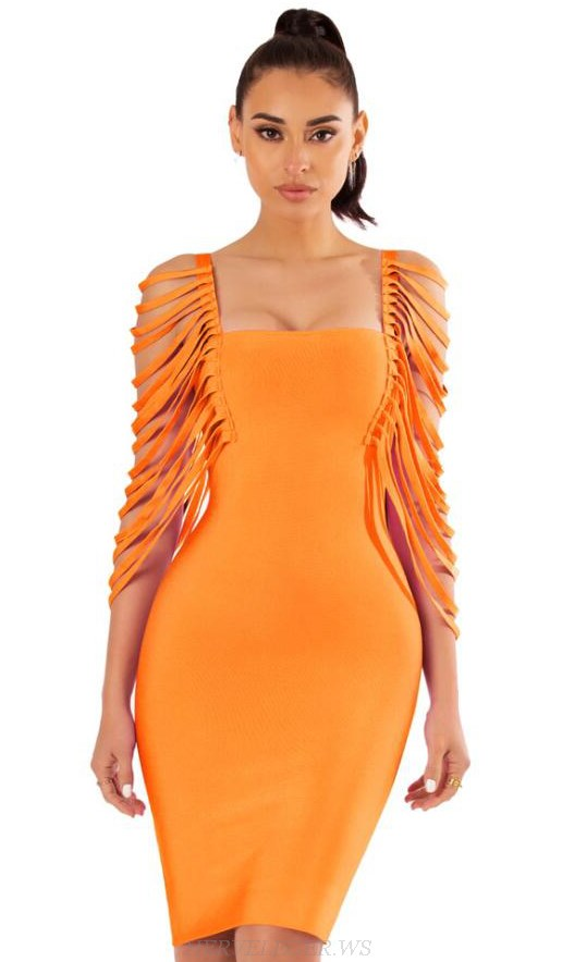 Herve Leger Orange Fringe Sleeve Dress