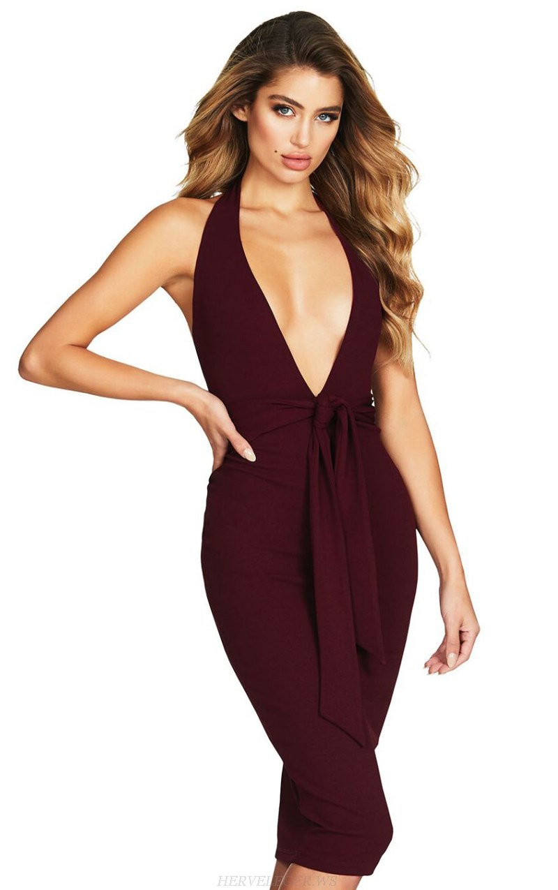 Herve Leger Burgundy Halter Plunge V Neck Dress