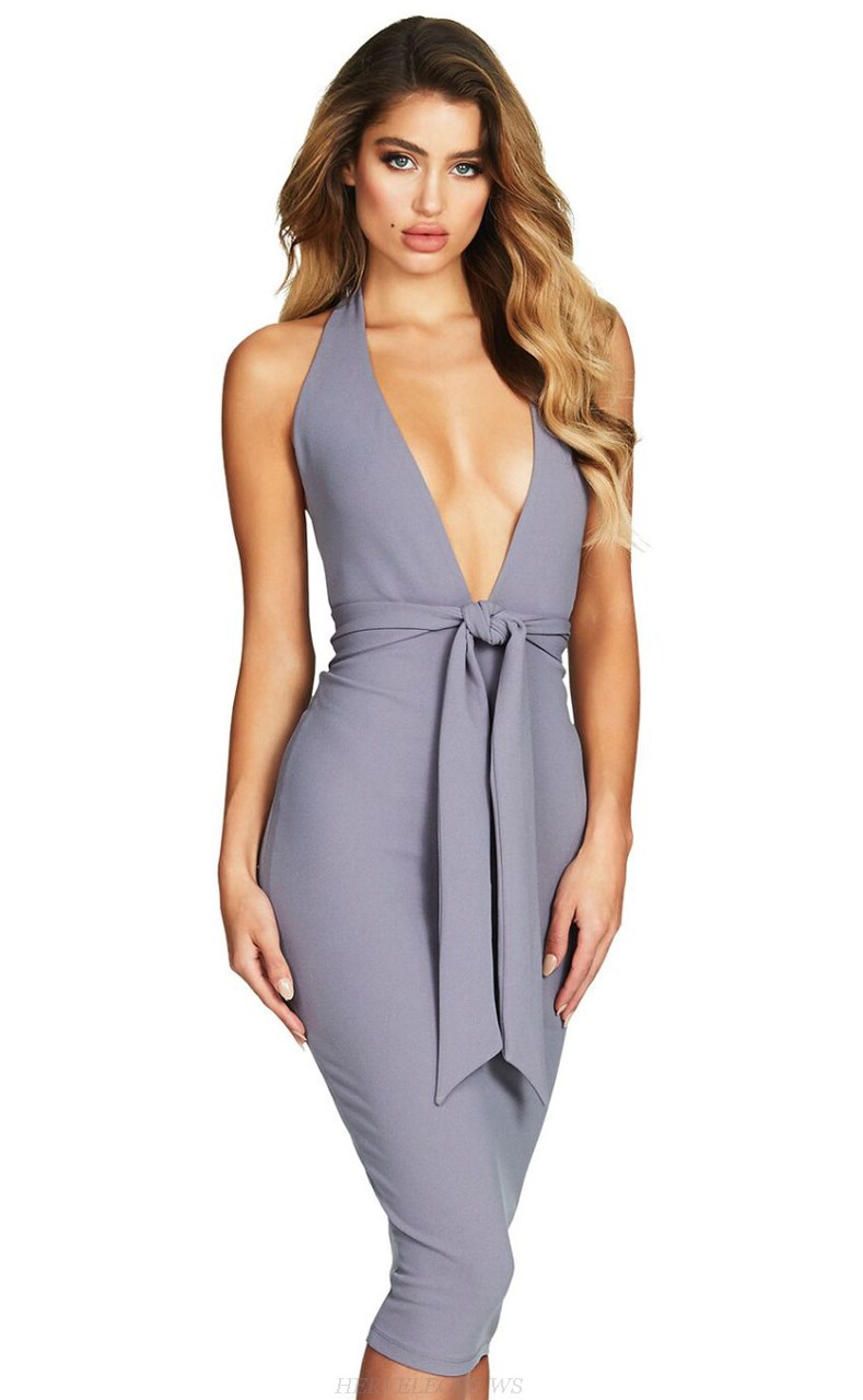 Herve Leger Grey Halter Plunge V Neck Dress