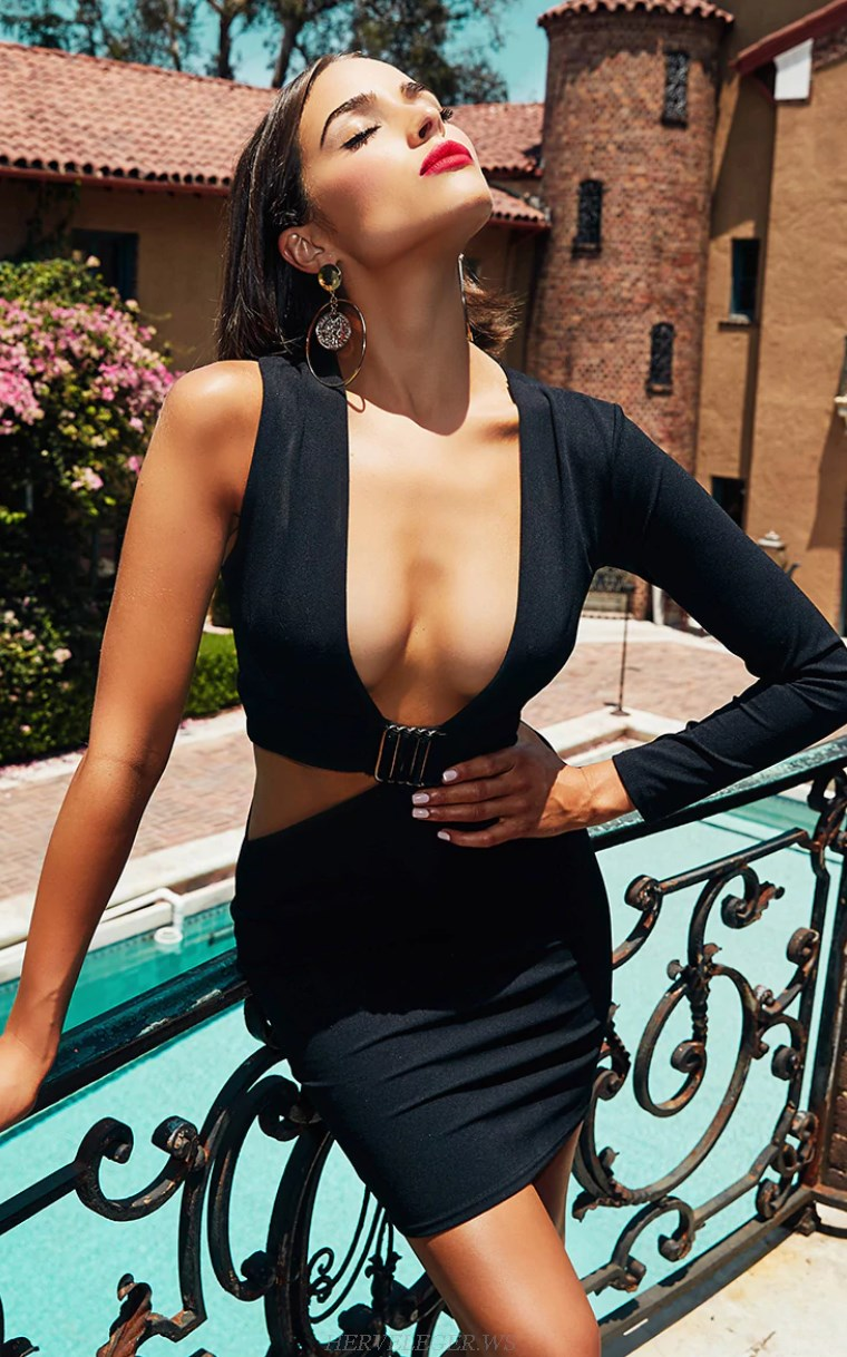 Herve Leger Black V Neck One Sleeve Dress