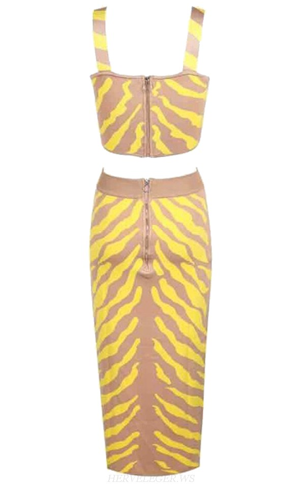 Herve Leger Nude Yellow V Neck Animal Print Midi Two Piece Bandage Dress