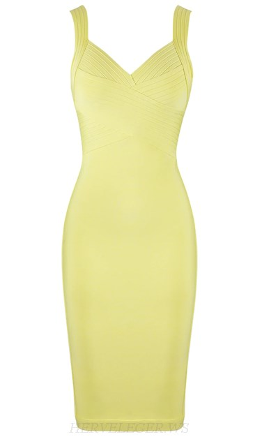 Herve Leger Light Yellow Backless Midi Dress
