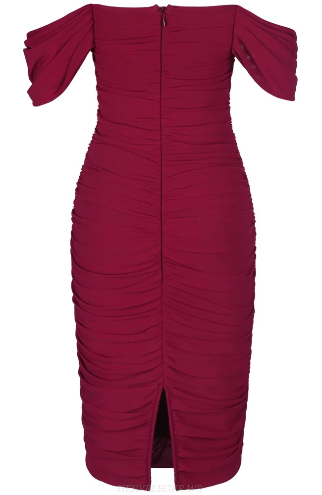 Herve Leger Burgundy Strapless Bardot Ruched Midi Dress
