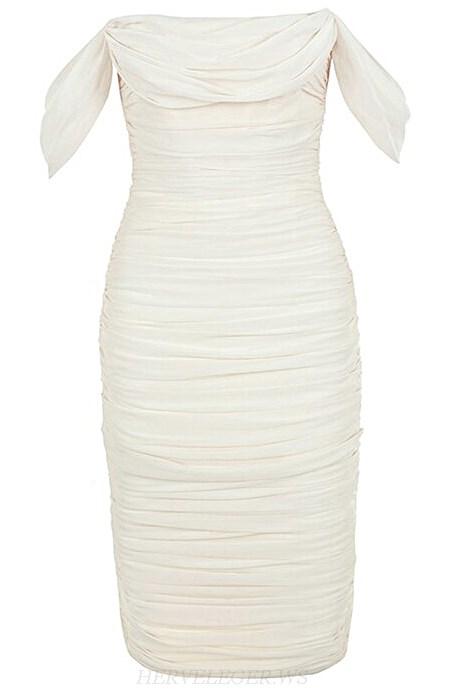 Herve Leger White Strapless Bardot Ruched Midi Dress