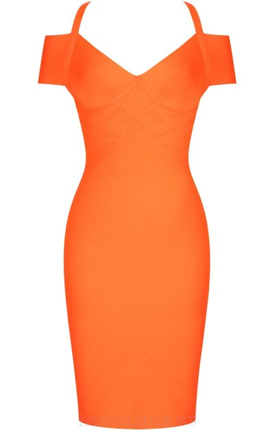 Herve Leger Orange Bardot Structured Midi Bandage Dress