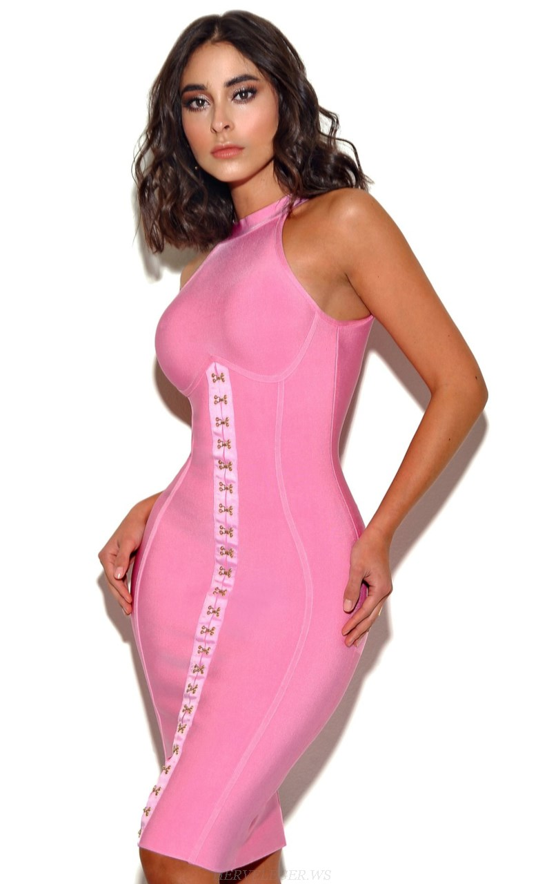 Herve Leger Pink Corset Detail Midi Bandage Dress