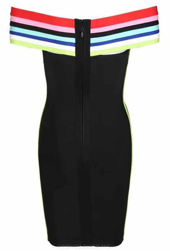 Herve Leger Black Strapless Cross Over Bardot Dress